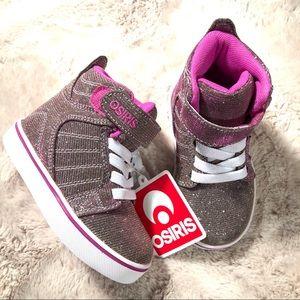 Osiris Toddler Rose Glitter High Top Sneaker SZ 7